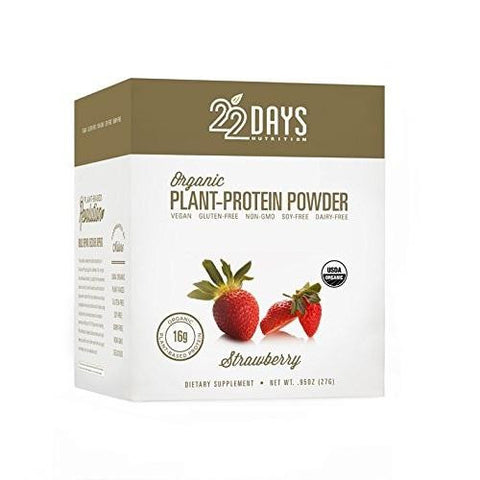 22 Days Organic Plant Protein Powder Strawberry (1x12-.88oz)
