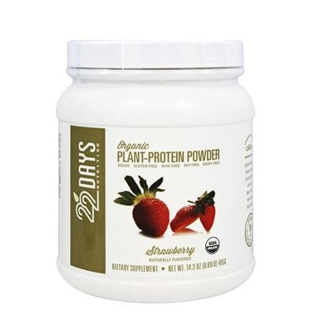 22 Days Organic Plant Protein Powder Strawberry (1x13.23 Oz)