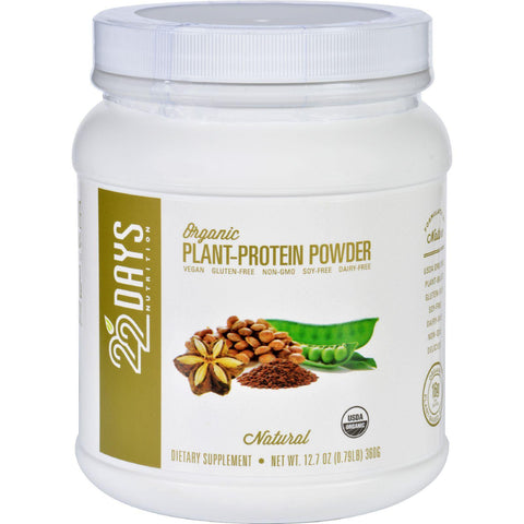 22 Days Nutrition Plant Protein Powder  Organic  Natural  12.7 Oz
