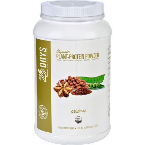 22 Days Nutrition Plant Protein Powder  Organic  Natural  25.4 Oz