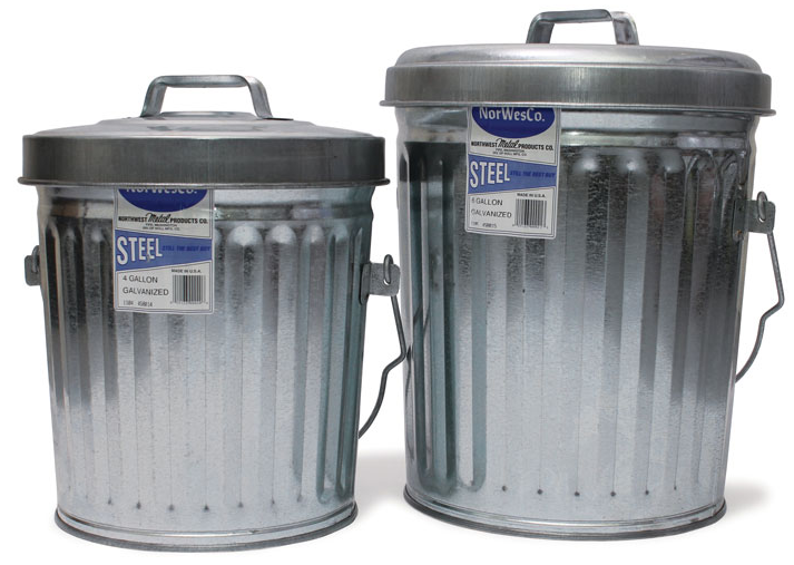 ITD1086 - 4 Gallon Galvanized Trash Can With Lid