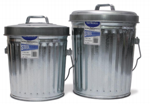 ITD1087 - 6 Gallon Galvanized  Trash Can With Lid