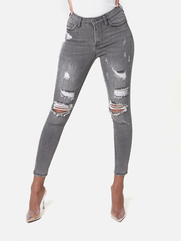 Stitched Jeans Grey, 586-2