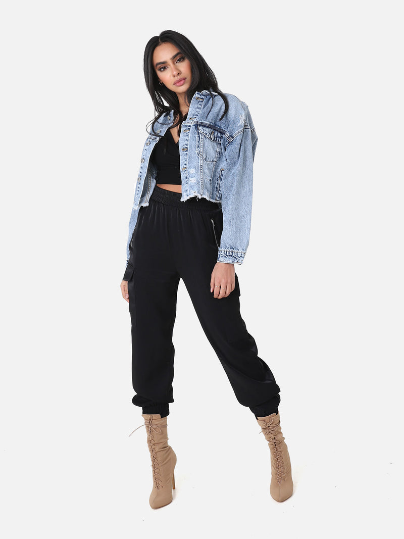 Destroyed Crop Jeansjacke
