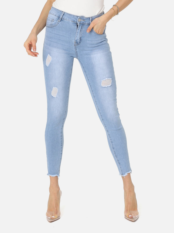 Destroyed High Waist Jeans