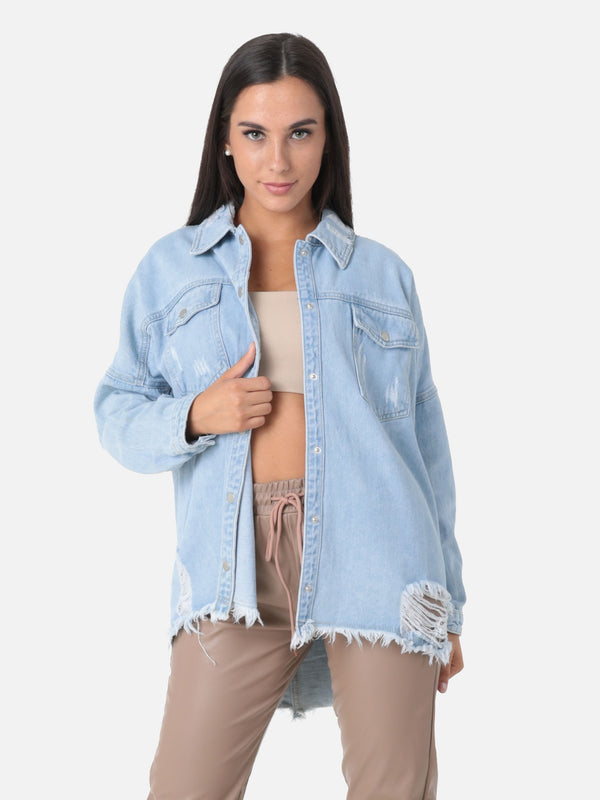 Destroyed Oversize Jeanshemd