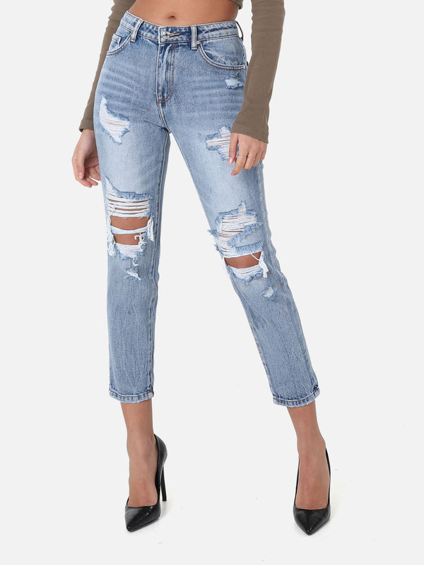Destroyed Slim Boyfriend Jeans
