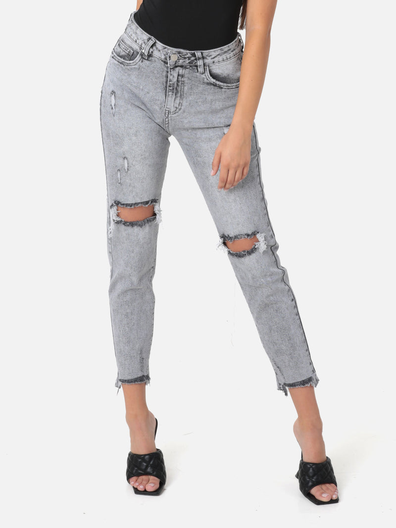 High Waist Mom Jeans Destroyed