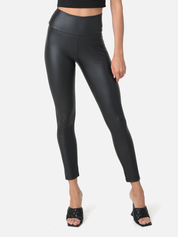Super High Waist Kunstleder Leggings