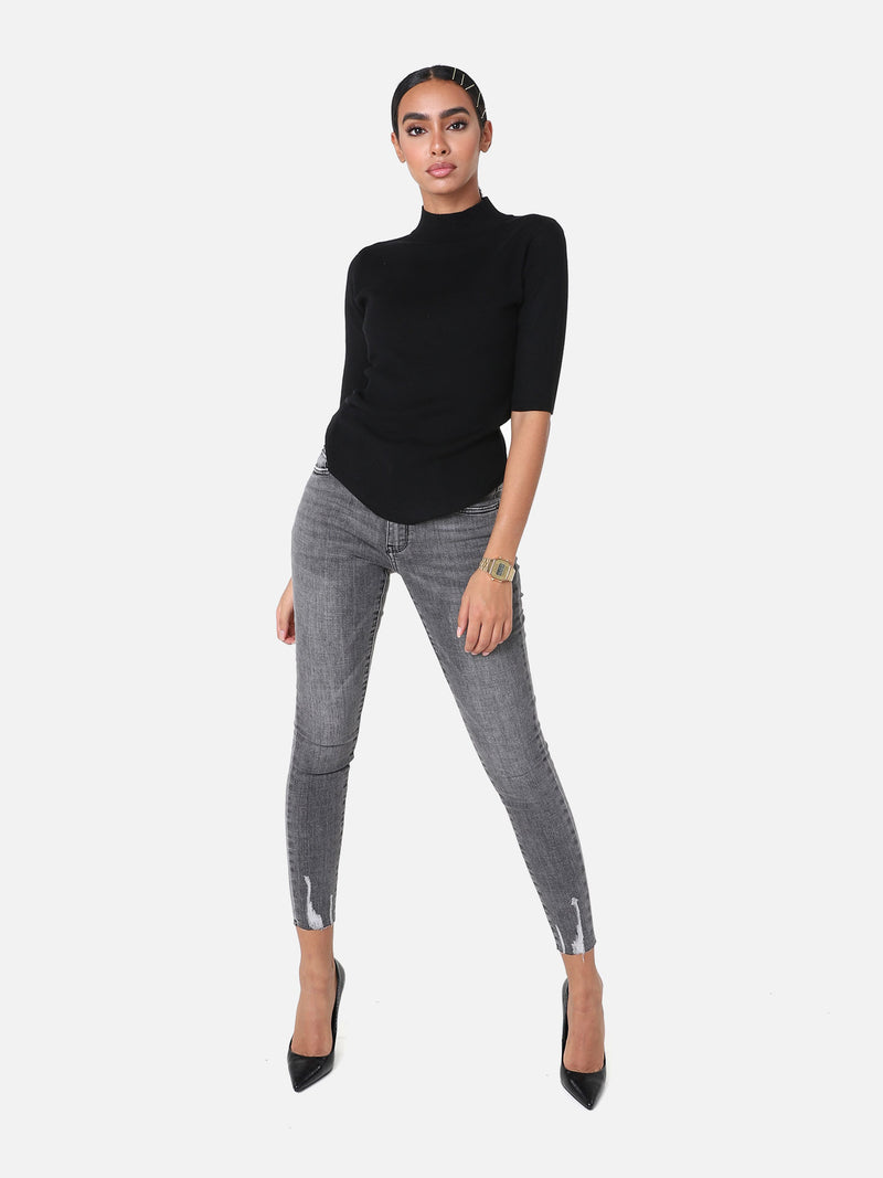Skinny Crop Jeans - Anthrazit