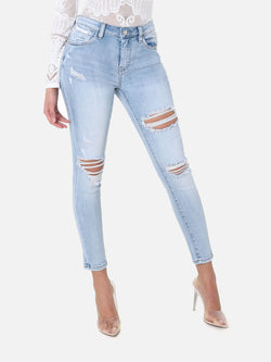Skinny Destroyed Bleached Jeans