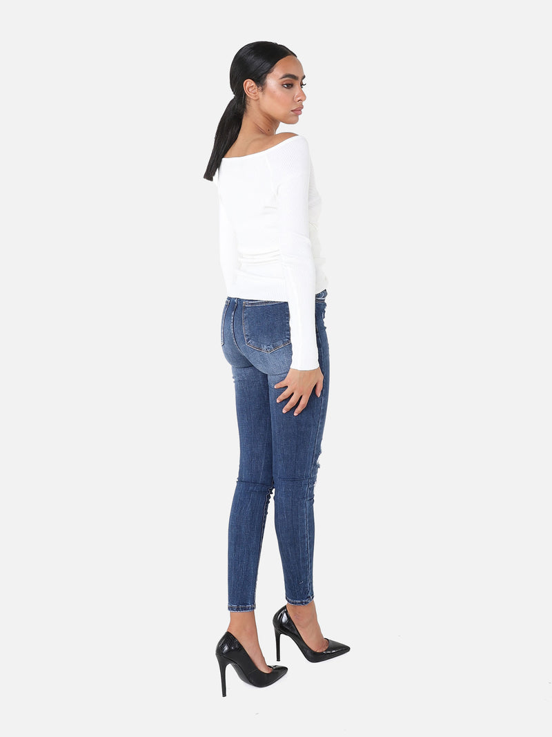 Skinny High Waist Jeans - Denim