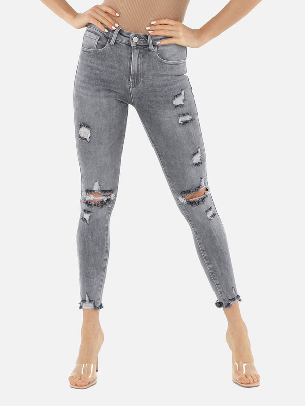 Skinny Destroyed Jeans - Grau
