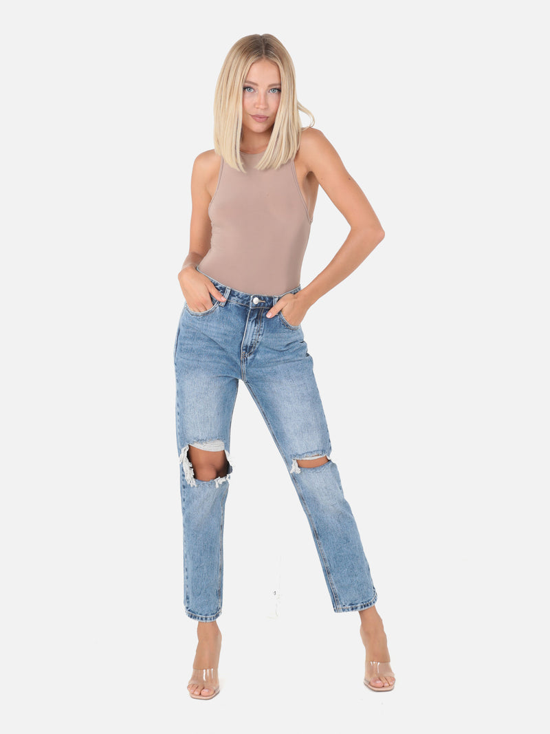 Mom Jeans mit Cut Outs