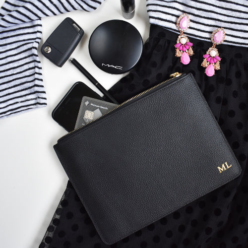 YORK PERSONALISED CLUTCH - Black