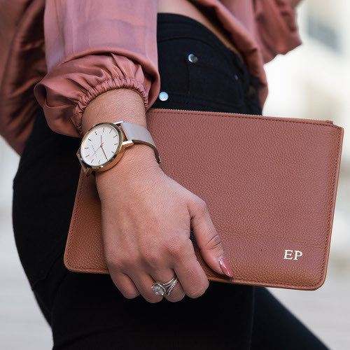 BROOKLYN PERSONALISED CLUTCH - Tan