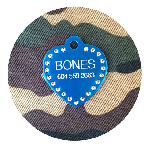 Anodized Aluminum Swarovski Crystals Dog Tag