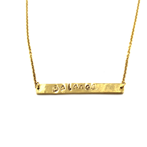 Gold Bar Necklace- Hand-Stamped