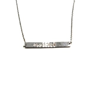 Silver Bar Necklace- Hand-Stamped