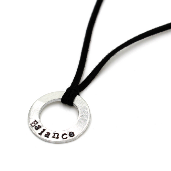 Black Leather Small Washer Necklace
