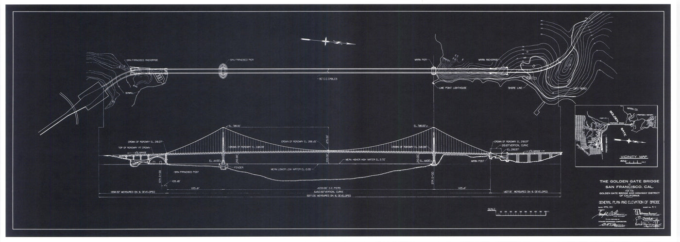 Golden Gate Bridge General Plan and Elevation Blue Print