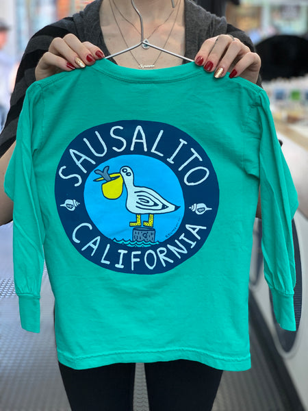 Kid's Sausalito Pelican Long Sleeve T Island Green