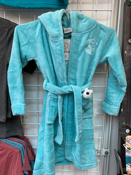 Snowy Kid's Hooded Fleece Robe Aqua