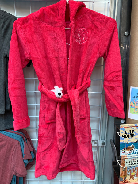 Snowy Kids' Hooded Fleece Bath Robe Rose