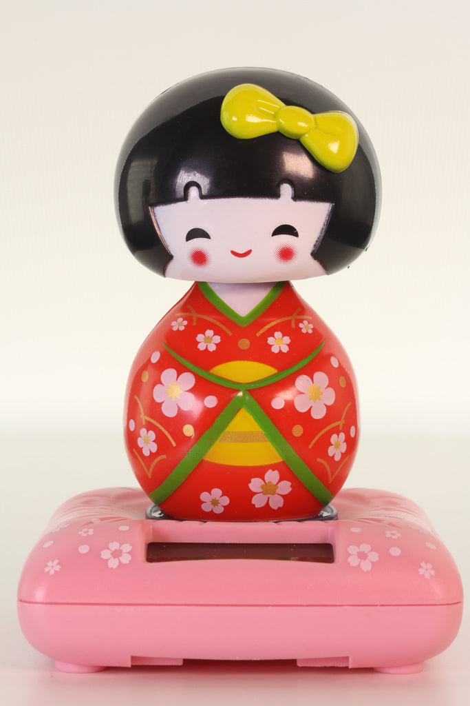 Red Kokeshi Doll Solar Bobblehead
