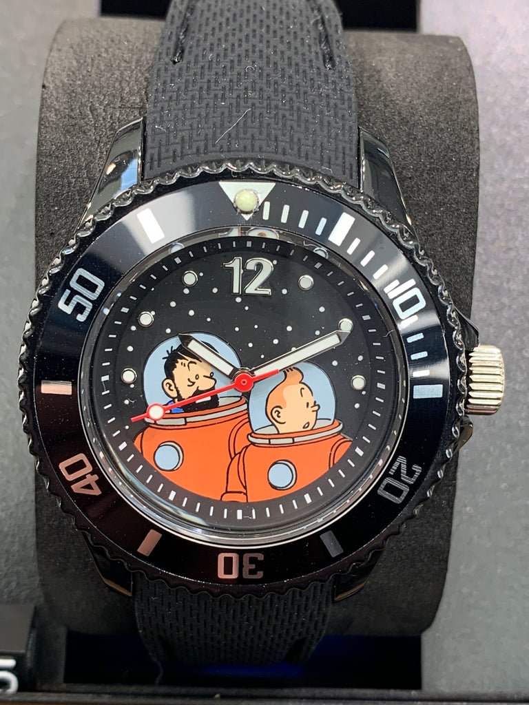 Tintin Moon Watch, Tintin and Haddock, Black Band, Medium
