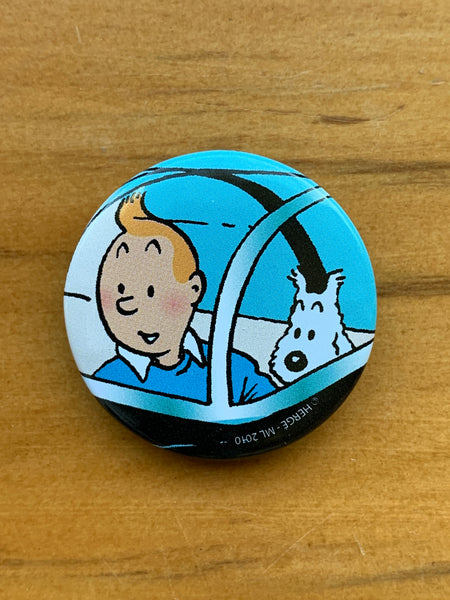 Tintin and Snowy Close Up Red Rackham's Treasure Button