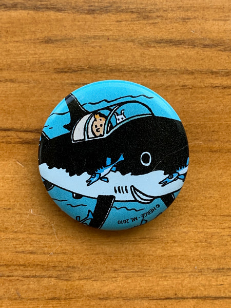 Tintin and Snowy in Professor Calculus's Shark Submarine Button
