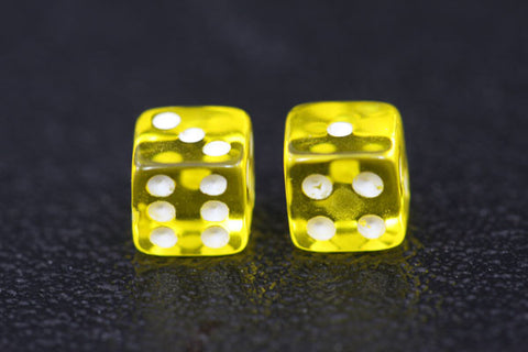 Miniature Pair of 1/4 Inch Clear Yellow Dice
