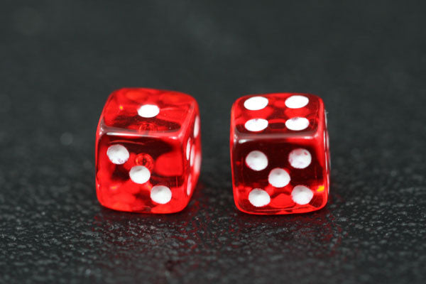 Miniature Pair of 1/4 Inch Clear Red Dice