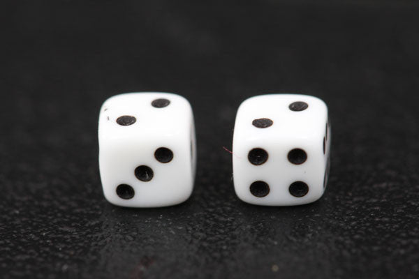 Miniature Pair of 1/4 Inch White Dice