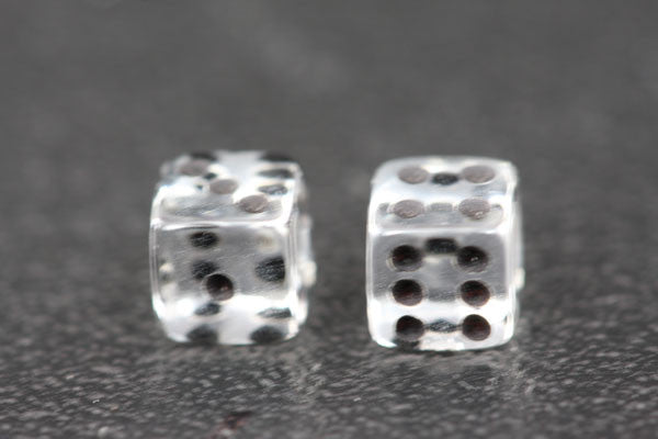 Miniature Pair of 1/4 Inch Clear Dice