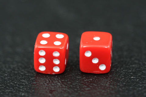 Miniature Pair of 1/4 Inch Red Dice