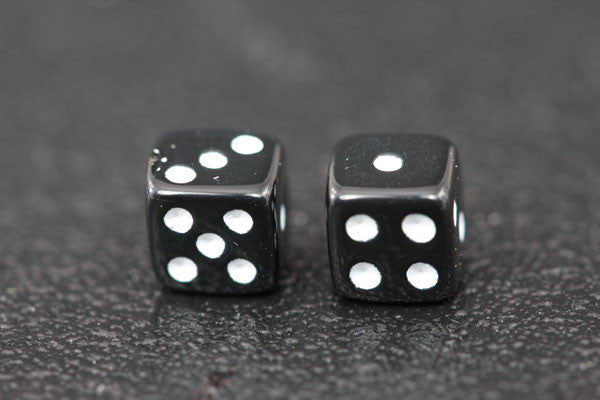 Miniature Pair of 1/4 Inch Black Dice