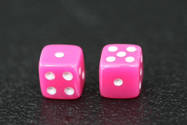 Miniature Pair of 1/4 Inch Pink Dice