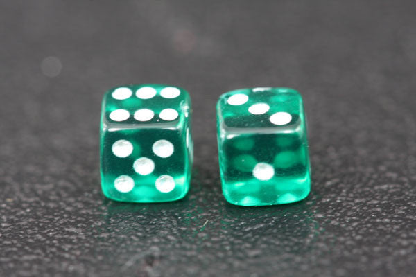 Miniature Pair of 1/4 Inch Clear Emerald Dice