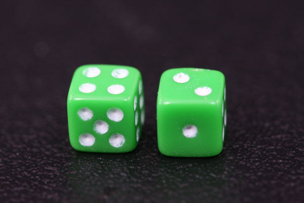 Miniature Pair of 1/4 Inch Green Dice
