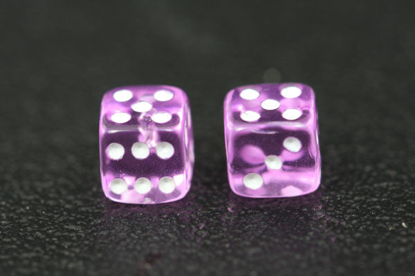 Miniature Pair of 1/4 Inch Clear Lavendar Dice