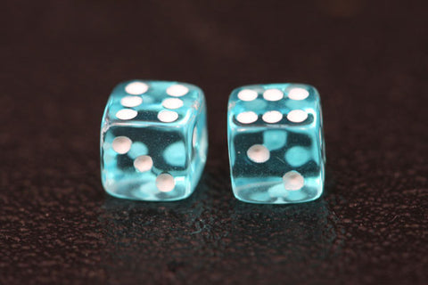 Miniature Pair of 1/4 Inch Clear Aqua Dice
