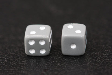 Miniature Pair of 1/4 Inch Gray Dice
