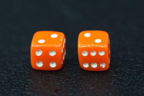 Miniature Pair of 1/4 Inch Orange Dice