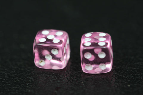 Miniature Pair of 1/4 Inch Clear Pink Dice