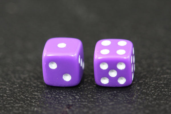 Miniature Pair of 1/4 Inch Purple Dice