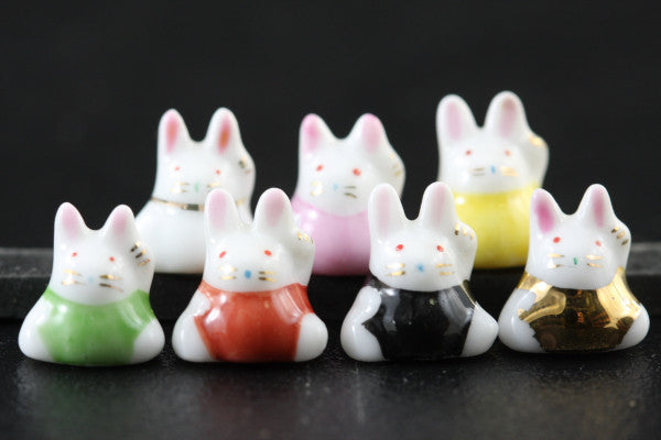 Set of Seven Porcelain Rabbits