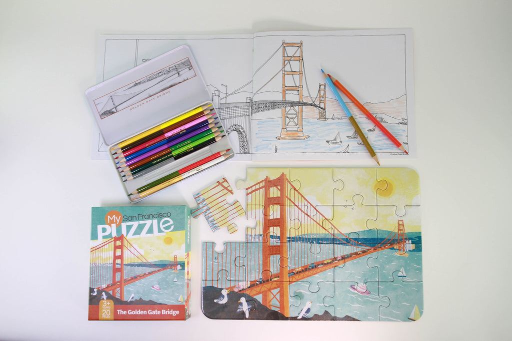 Color and Puzzle Your Way Through San Francisco Gift Box Set