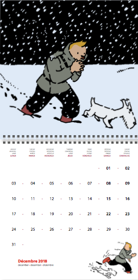 Moulinsart Tintin in the Land of the Soviets 2018 Wall Calendar 30cm x 30cm